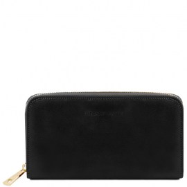 Exclusive leather accordion wallet with zip closure Ruth