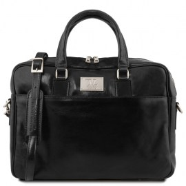 Leather laptop briefcase with front pocket- Urban