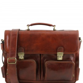 Leather multi compartment briefcase -  Ventimiglia